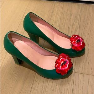 Leather platform heels with embellishments